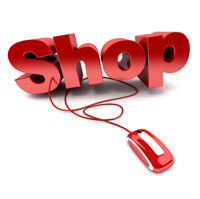Red and white 3D illustration of the word shop connected to a computer mouse